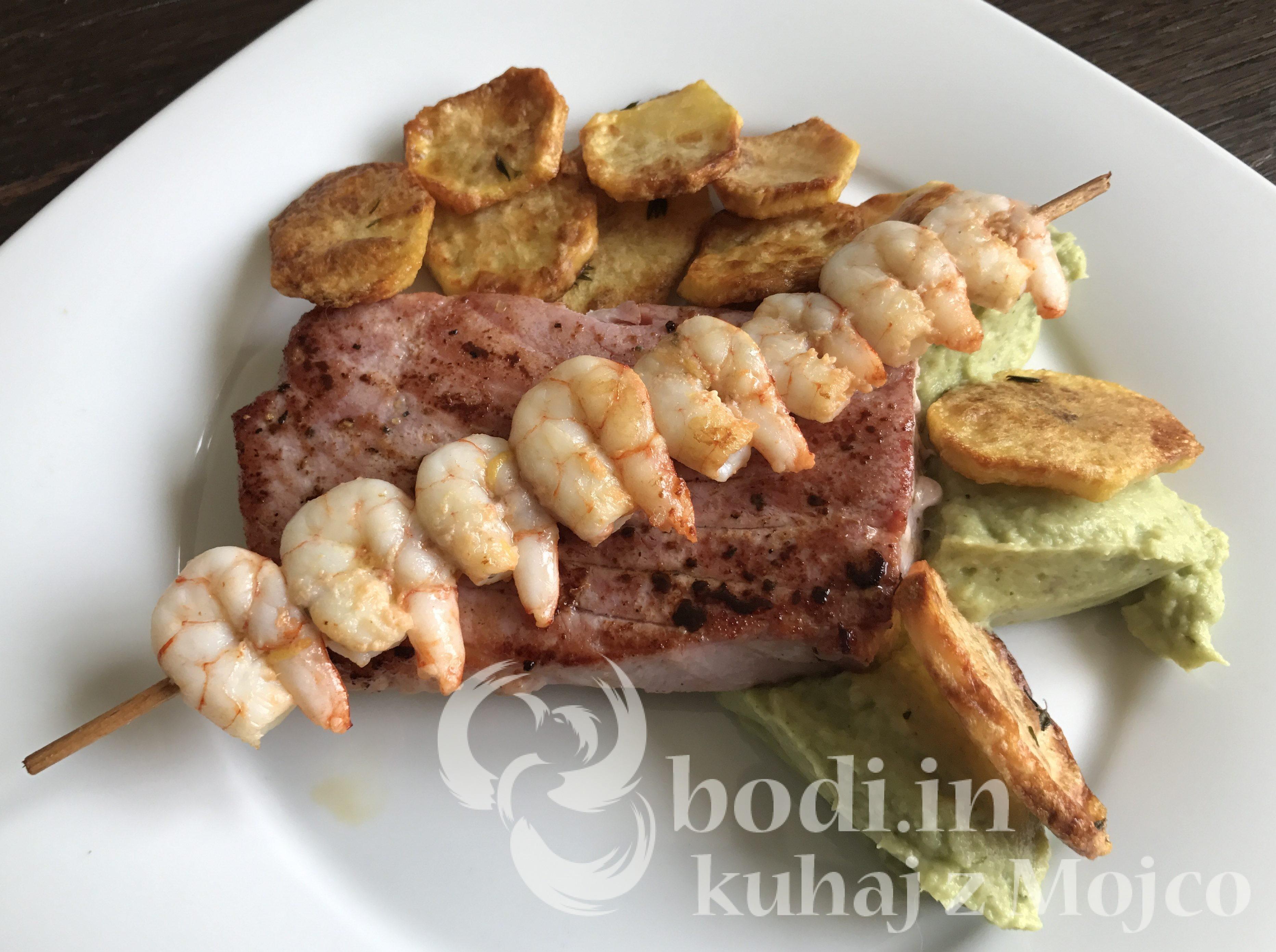 Tuna, kozice pire in krompir